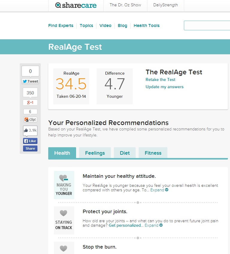 What is your @ShareCareNow RealAge Test #RealAge - Dad of Divas
